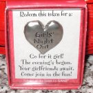 GIRLS NIGHT OUT HEART TOKEN REDEEMABLE GIFT ITEM NEW GANZ