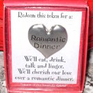 ROMANTIC DINNER HEART TOKEN REDEEMABLE GIFT ITEM NEW GANZ