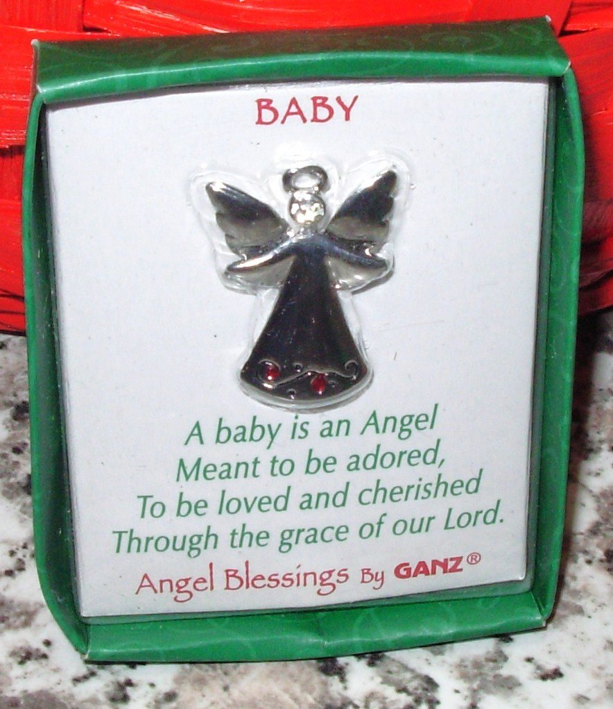 NEW BABY ANGEL BLESSINGS BY GANZ ANGEL PENDANT WITH CRYSTAL NEW GIFT JEWELRY ITEM