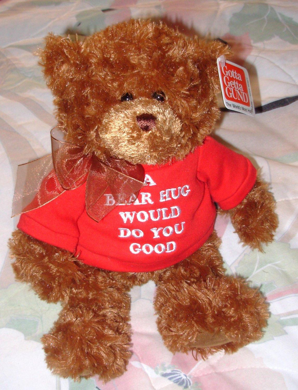 GUND TEDDYBEAR IN RED TSHIRT SAYS A BEAR HUG WOULD DO YOU GOOD PLUSH STUFFED ANIMAL BEAR NEW GUND