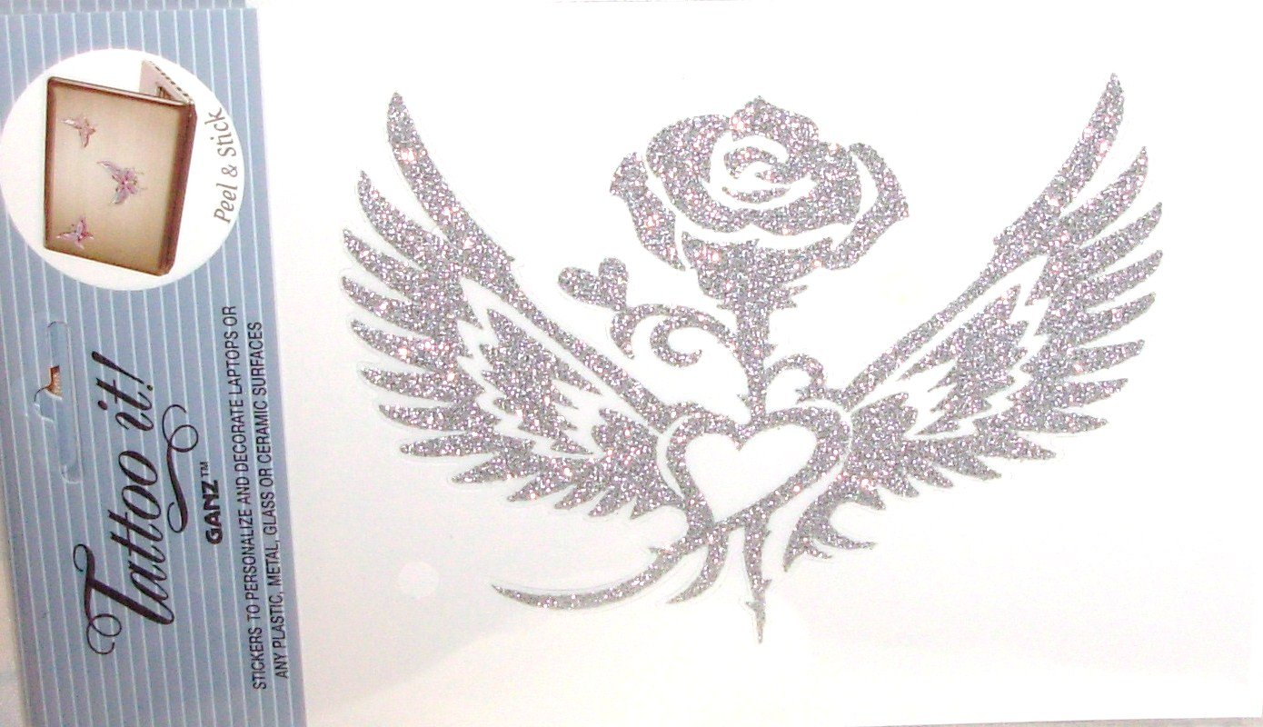 ROSE AND HEART WITH WINGS LAPTOP TATTOO SKIN UNIVERSAL PEEL AND STICK REUSABLE PERSONALIZE DECORATE
