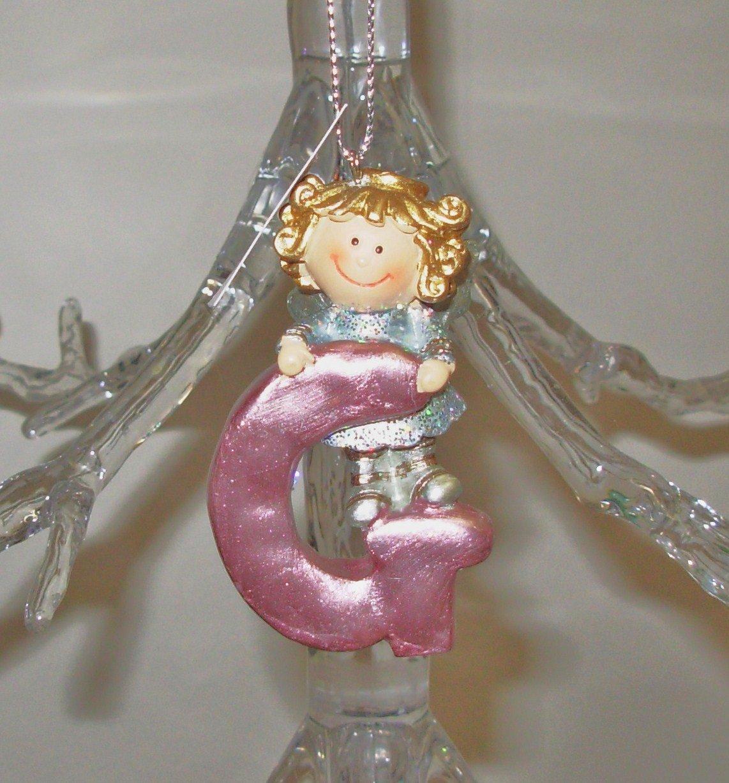 ANGEL ORNAMENT INITIAL G CHRISTMAS HOME DECOR HOLIDAY BIRTHDAY NEW GANZ