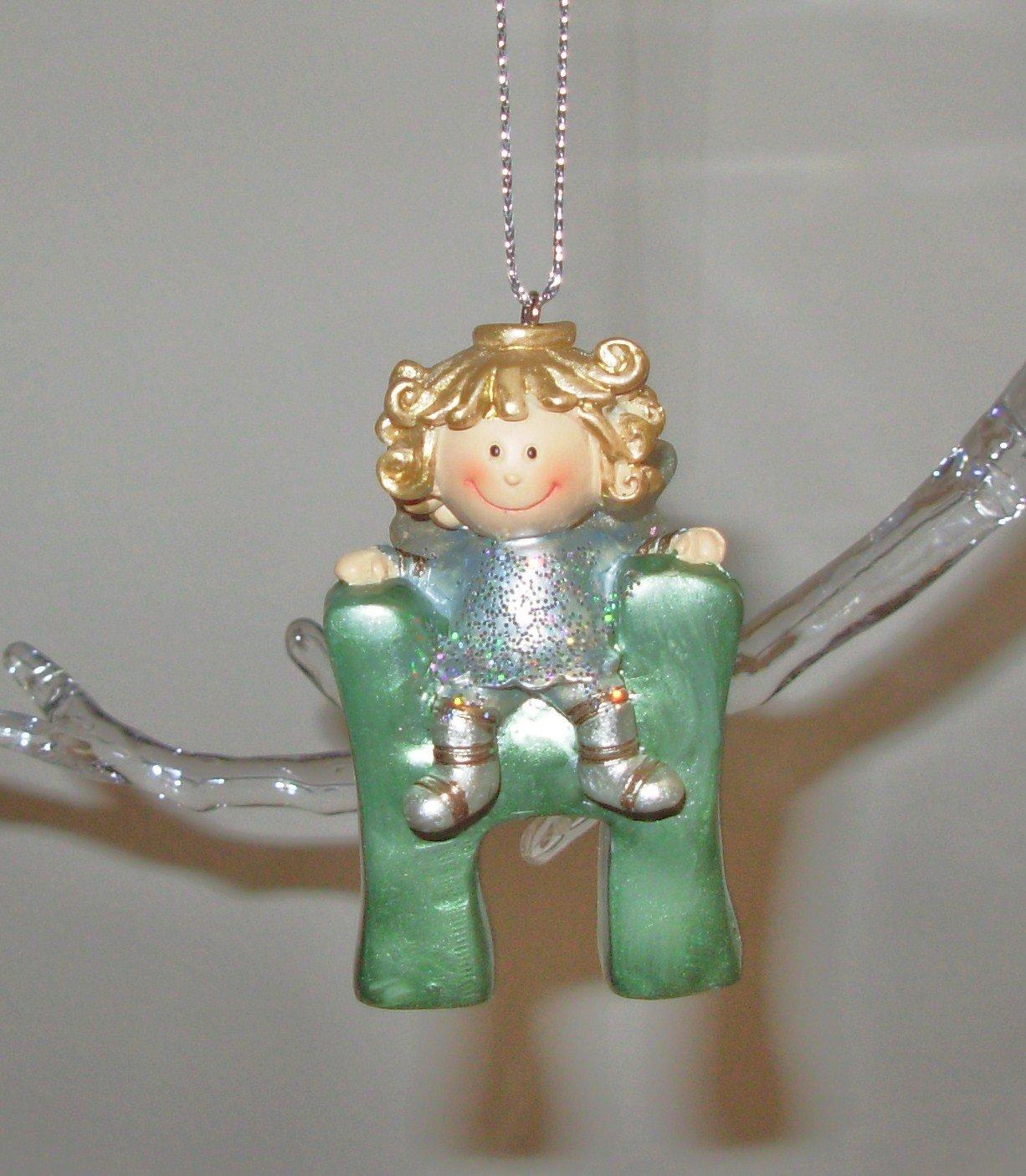 ANGEL ORNAMENT INITIAL H CHRISTMAS HOME DECOR HOLIDAY BIRTHDAY NEW GANZ