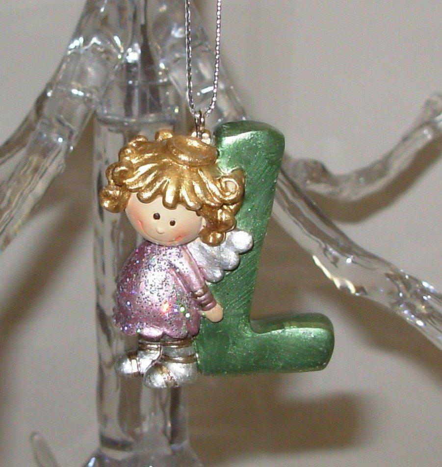 ANGEL ORNAMENT INITIAL L CHRISTMAS HOME DECOR HOLIDAY BIRTHDAY NEW GANZ