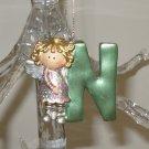 ANGEL ORNAMENT INITIAL N CHRISTMAS HOME DECOR HOLIDAY BIRTHDAY NEW GANZ