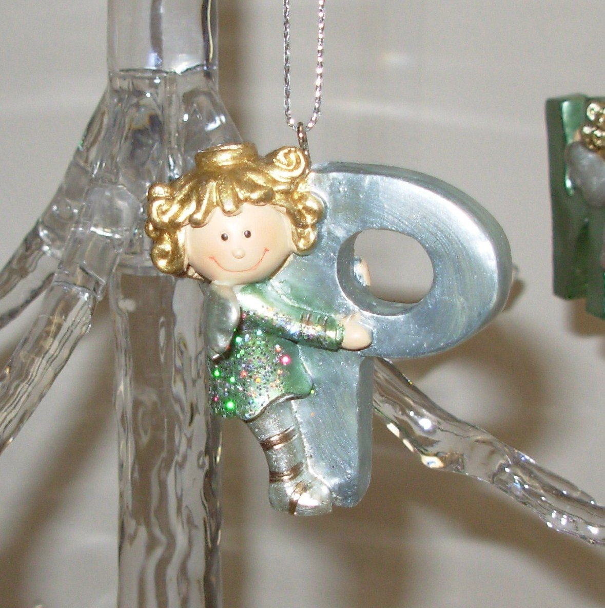 ANGEL ORNAMENT INITIAL P CHRISTMAS HOME DECOR HOLIDAY BIRTHDAY NEW GANZ