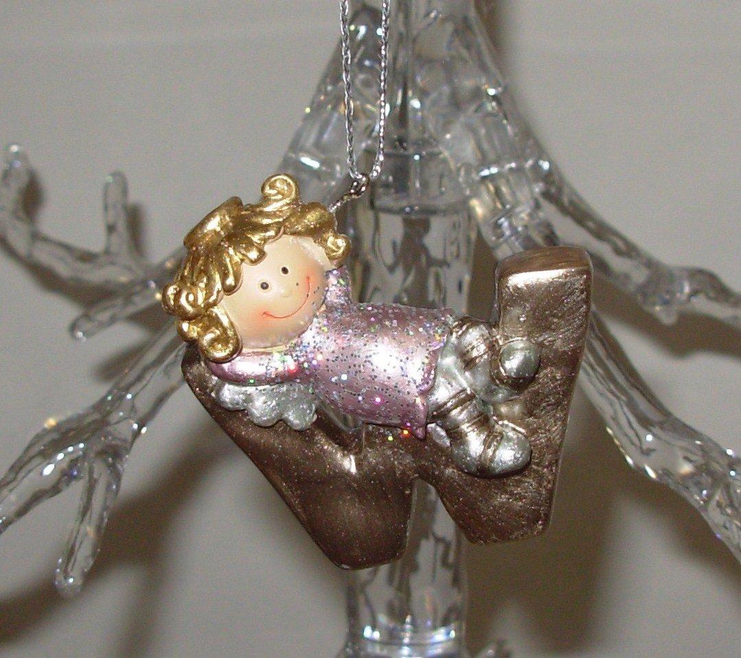 ANGEL ORNAMENT INITIAL W CHRISTMAS HOME DECOR HOLIDAY BIRTHDAY NEW GANZ