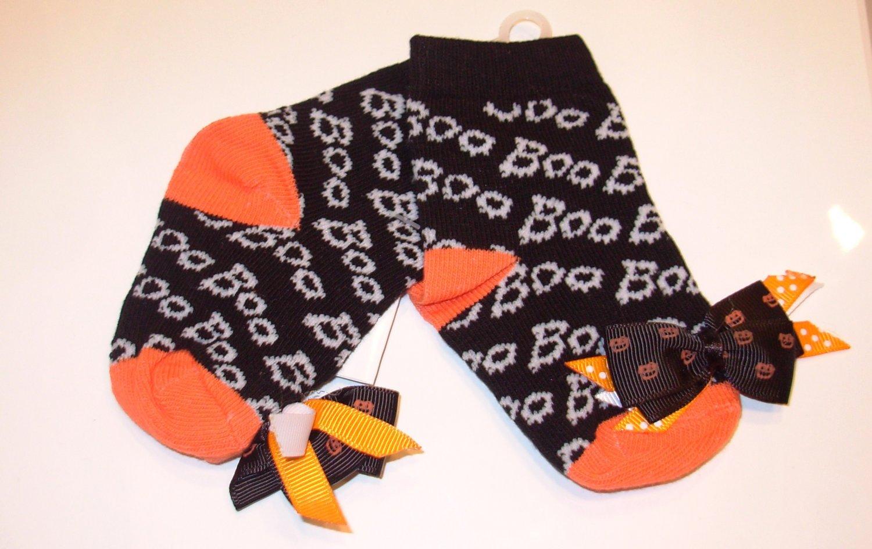 HALLOWEEN BABY SOCKS BOO PUMPKINS BOWS SIZE 0 TO 12 MONTHS NEW GANZ