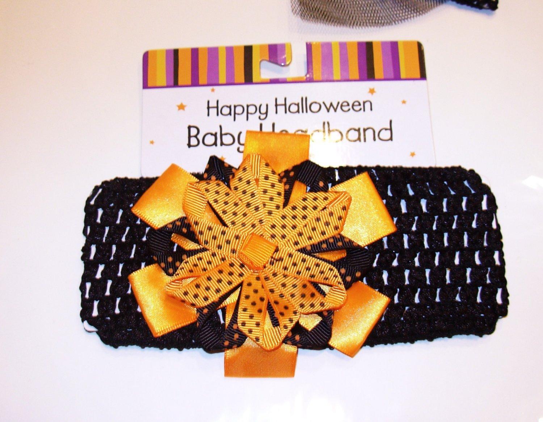 HALLOWEEN BABY HEADBAND BLACK ORANGE BOWS POLKA DOTS BIRTH AND UP NEW GANZ