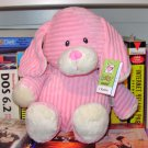 CORDUROY PINK PUPPY DOG BABY TOY RATTLE PLUSH NEW GANZ MACHINE WASHABLE