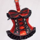 BUSTIER LUGGAGE TAGS RED WITH BLACK LACES AND RUFFLES STAND OUT NEW