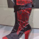 BOOT LUGGAGE TAGS RED AND BLACK FLORAL PATTERN HIGH FASHION STAND OUT NEW