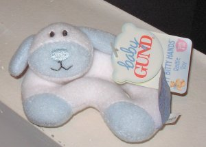 BABY GUND BLUE AND WHITE PUPPY PLUSH BABY RATTLE NEW WITH TAGS BABY TOY