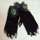 BLACK VELVET SILVER SEQUINS HALLOWEEN GLOVES METALIC NAILS COSTUME ACCESSORY ROSES