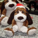 LITTLE OLIVER 12 INCH PLUSH STUFFED ANIMAL PUPPY DOG IN CHRISTMAS STOCKING HAT NEW GANZ