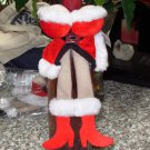 SEXY MRS CLAUS COSTUME WINE BOTTLE COVER SNUGGLER COLLAR CUTE NEW GANZ CHRISTMAS GIFT