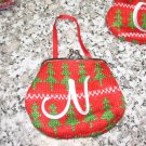 MONOGRAMED LETTER N HOLIDAY COIN PURSE ORNAMENT PERSONALIZED GIFT CARD HOLDER NEW GANZ