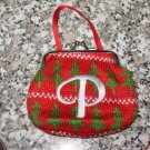 MONOGRAMED LETTER P HOLIDAY COIN PURSE ORNAMENT PERSONALIZED GIFT CARD HOLDER NEW GANZ