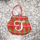 MONOGRAMED LETTER T HOLIDAY COIN PURSE ORNAMENT PERSONALIZED GIFT CARD HOLDER NEW GANZ