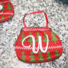MONOGRAMED LETTER W HOLIDAY COIN PURSE ORNAMENT PERSONALIZED GIFT CARD HOLDER NEW GANZ