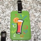 HAPPY HOUR COCKTAIL GLASS LUGGAGE TAG FESTIVE UNMISTAKEABLE UNIQUE NEW GANZ