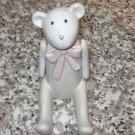 BEAR STATUE POLYSTONE JOINTED ARMS PINK BOW ANTIQUED LOOK NEW GANZ BABY