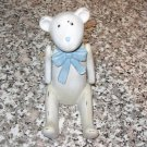 BEAR STATUE POLYSTONE JOINTED ARMS BLUE BOW ANTIQUED LOOK NEW GANZ BABY