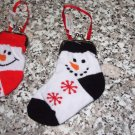 SNOWMAN BLACK AND WHITE CHRISTMAS STOCKING COIN PURSE CHRISTMAS ORNAMENT NEW GANZ HOLIDAY GIFT DECOR