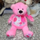 HOT PINK DOTTIE BEAR PLUSH STUFFED ANIMAL NEW GANZ TEDDYBEAR TEDDY BEAR