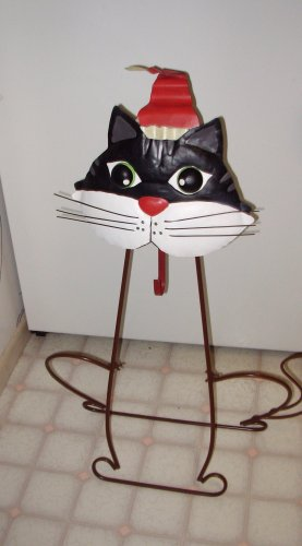 CAT WREATH HOLDER IRON CHRISTMAS HOLIDAY HOME DECOR NEW GANZ