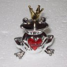 FROG PRINCE FIGURINE SMALL ZINC FROG HOLDING A RED HEART THAT SAYS FOREVER NEW GANZ
