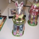 FOIL BOY BUNNY SITTING ON EASTER EGG FIGURINE 9 INCH NEW GANZ HOME HOLIDAY DECOR