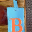 LETTER B INITIAL LUGGAGE TAG NEW GANZ IN BLUE WITH AN ORANGE LETTER B VINYL