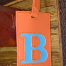 LETTER B INITIAL LUGGAGE TAG NEW GANZ IN ORANGE WITH A BLUE LETTER B VINYL