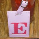 LETTER E INITIAL LUGGAGE TAG NEW GANZ PINK WITH A HOT PINK LETTER E VINYL
