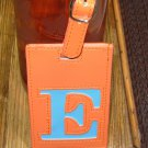 LETTER E INITIAL LUGGAGE TAG NEW GANZ IN ORANGE WITH A BLUE LETTER E VINYL