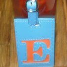 LETTER E INITIAL LUGGAGE TAG NEW GANZ IN BLUE WITH LETTER E IN ORANGE VINYL