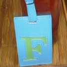 LETTER F INITIAL LUGGAGE TAG NEW GANZ BLUE WITH A LIME GREEN LETTER F VINYL