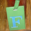 LETTER F INITIAL LUGGAGE TAG NEW GANZ LIME GREEN WITH A BLUE LETTER F VINYL