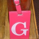 LETTER G INITIAL LUGGAGE TAG NEW GANZ HOT PINK WITH A LIGHTER PINK LETTER G VINYL