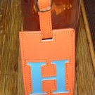 LETTER H INITIAL LUGGAGE TAG NEW GANZ IN ORANGE WITH A BLUE LETTER H VINYL
