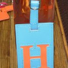 LETTER H INITIAL LUGGAGE TAG NEW GANZ IN BLUE WITH LETTER H IN ORANGE VINYL