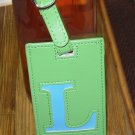 LETTER L INITIAL LUGGAGE TAG NEW GANZ LIME GREEN WITH A BLUE LETTER L VINYL