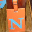 LETTER N INITIAL LUGGAGE TAG NEW GANZ IN ORANGE WITH A BLUE LETTER N VINYL