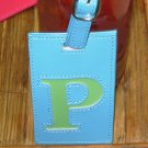 LETTER P INITIAL LUGGAGE TAG NEW GANZ BLUE WITH A LIME GREEN LETTER P VINYL