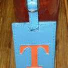 LETTER T INITIAL LUGGAGE TAG NEW GANZ IN BLUE WITH LETTER T IN ORANGE VINYL