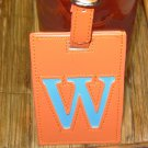 LETTER W INITIAL LUGGAGE TAG NEW GANZ IN ORANGE WITH A BLUE LETTER W VINYL