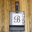 MONOGRAMED INITIAL LUGGAGE TAG LETTER B BLACK AND WHITE NEW GANZ TRAVEL TAG