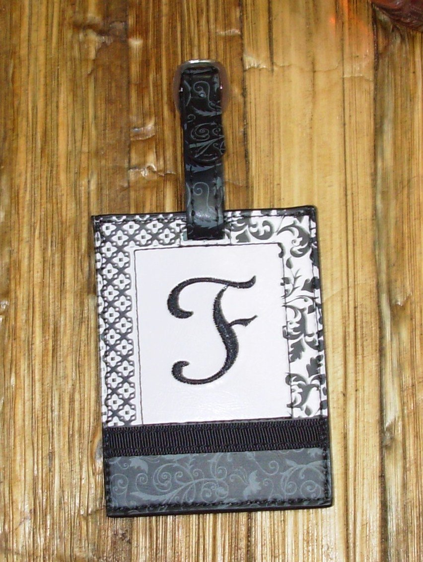 MONOGRAMED INITIAL LUGGAGE TAG LETTER F BLACK AND WHITE NEW GANZ TRAVEL TAG