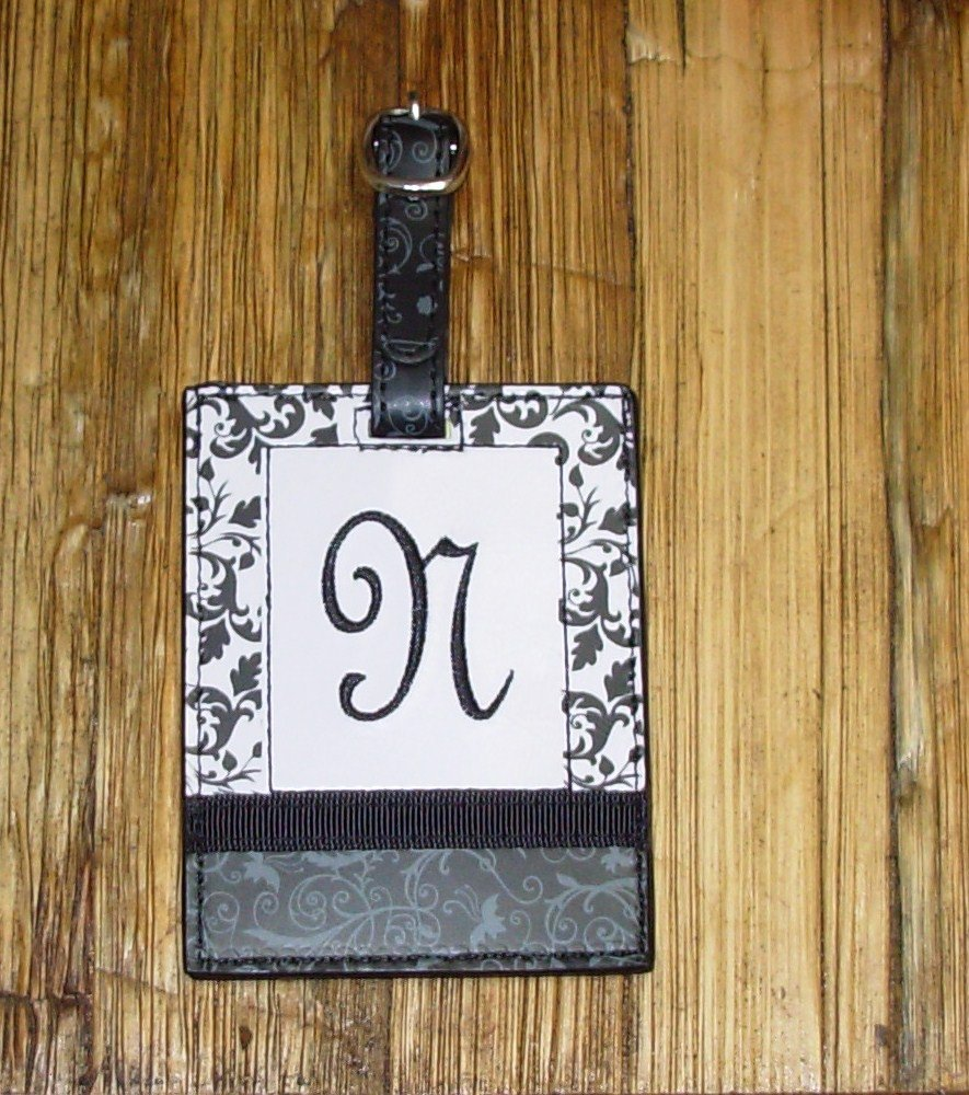 MONOGRAMED INITIAL LUGGAGE TAG LETTER N BLACK AND WHITE NEW GANZ TRAVEL TAG